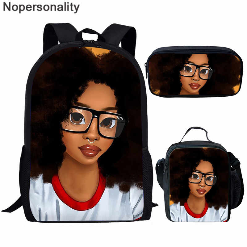 Nopersonality Black African American Character School Bag Set For