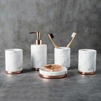 bathroom sets 5pcs toothbrush holder High quality marble ceramics Washing mug bathroom Supplies