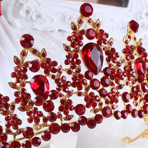 Vintage Prom Pageant Wedding Red Tiaras And Crowns 2017 Headband Hairband Bridal Rhinestone Pageant Tiaras Crowns Hair Jewelry Karachi