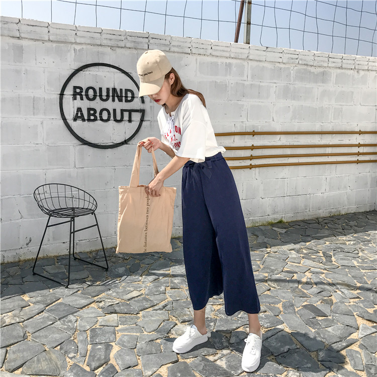 19 Women Casual Loose Wide Leg Pant Womens Elegant Fashion Preppy Style Trousers Female Pure Color Females New Palazzo Pants 50