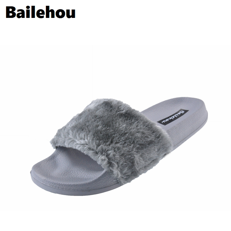 Bailehou New Fashion Footwear Women Flat Slippers Soft Fur Slip Slides Indoor Outdoor Slippers Casual Flat Platform Shoes Black flat fur women slippers 2017 fashion leisure open toe women indoor slippers fur high quality soft plush lady furry slippers