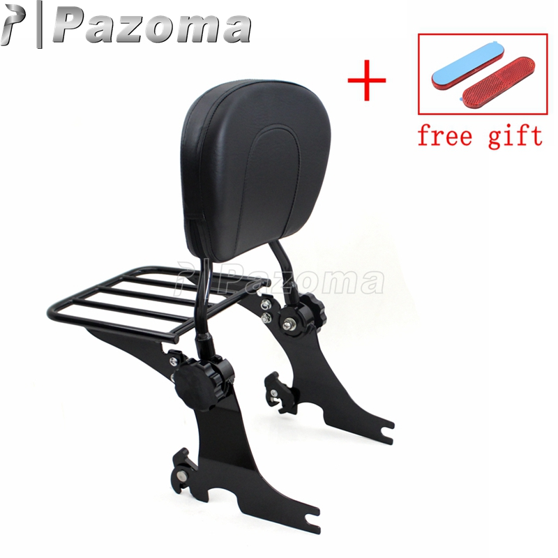 Motorcycle Sissy Bar Luggage Rack Bracket Holder Passenger Backrest Cushion Pad for Harley Sportster XL 883