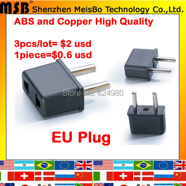 Universal Euro 3pcs X US to eu Electrical AC power plug travel Converter Adapter Free shipping