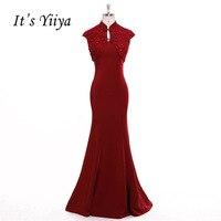 انها yiiya الجنس الأحمر البوق قطعتين حورية البحر عالية الياقة فساتين السهرة الطابق طول حزب ثوب مساء العباءات prom اللباس f023