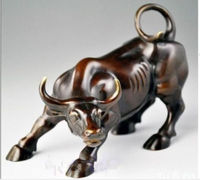 Big Wall Street Bronze Fierce Bull OX Statue Zodiac Animal Cattle Statue