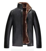 Free Shipping Hot Sale Thick Leather Winter Clothing Flocking Casual Leather Jacket Men's Clothing Leather Jacket Men Veste Cuir