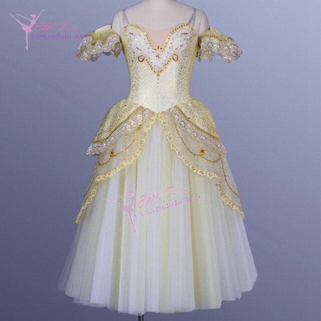 Yellow Gold Professional Ballet Giselle Romantic Tutu Dress Ballerina Fairy Adult Long Tutus Skirt La Fille
