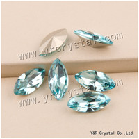 YANRUO #4200 Lt. Aquamarine Bellezza del Diamante Pointback Fancy Strass Navette Forma Cristallo Strass Pietre