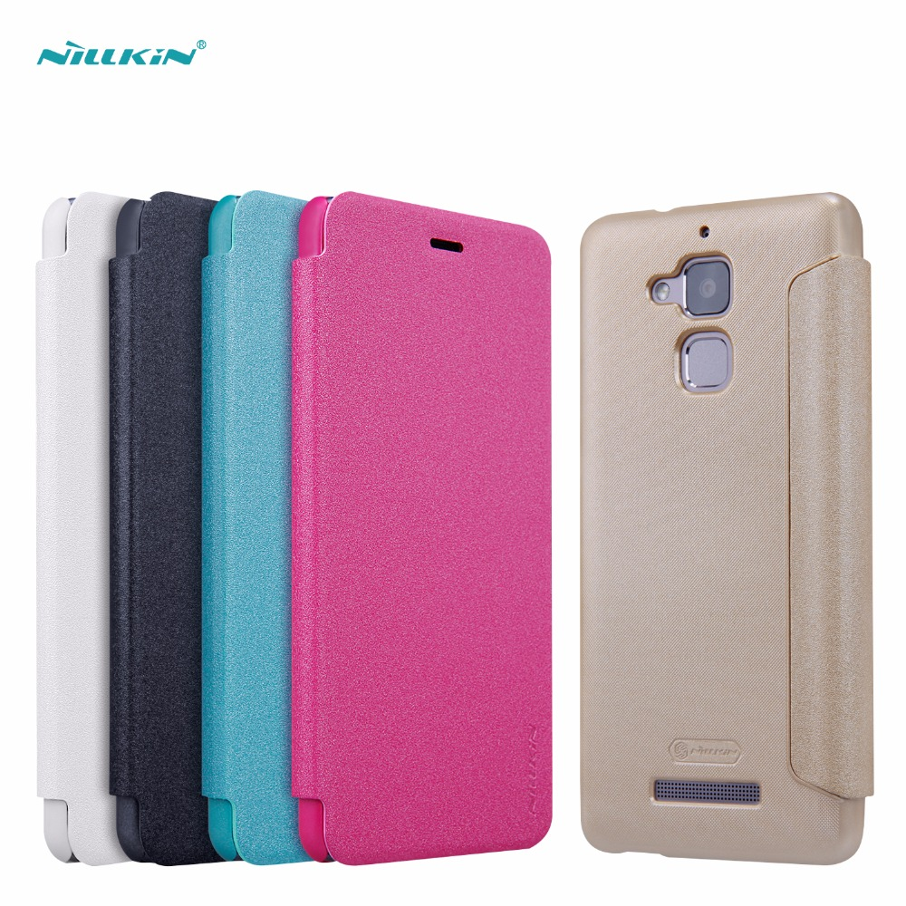 NILLKIN Sparkle flip cover PU Leather hard plastic back cover phone case for asus zenfone 3