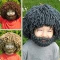 1-8 Años de Edad Peluca Divertida creativa barba Sombrero de Invierno Para niños niños niños niñas cosplay cap accesorios de fotografía gris marrón