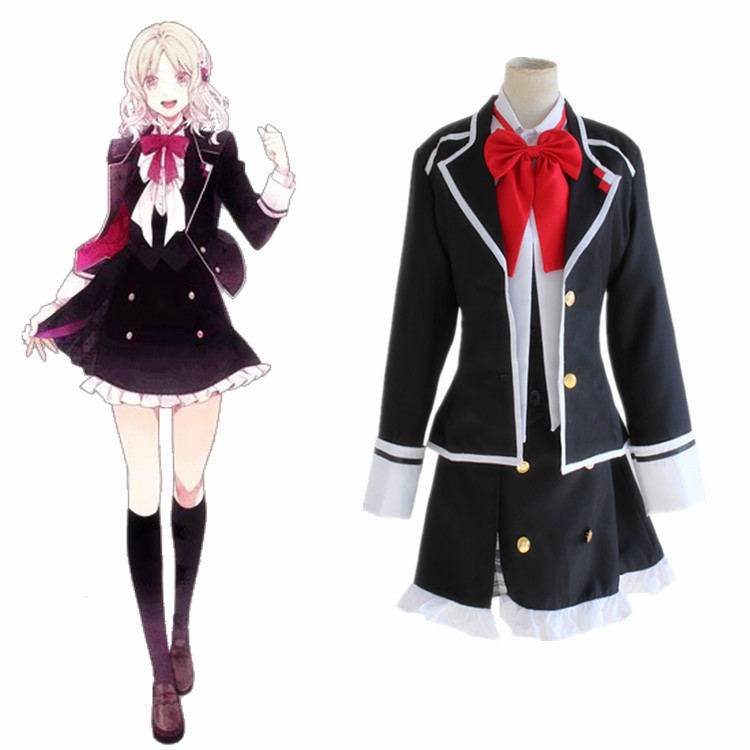 Anime Diabolik Lovers Komori Yui Cosplay Costume Full Set School Uniform ( Jacket + Vest + Skirt + Bow tie ) Size S-XL