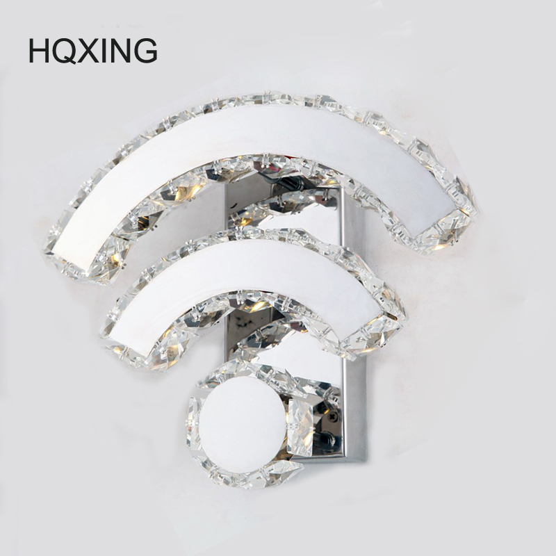 HQXING AC100-240V Modern Bedside Wall Lamp Bedroom Lamp Crystal Wall Lights 14W LED Wall Lights Led Lamp For Bedroom Decor modern style bedside wall lamp bedroom stair lighting crystal wall lights e27 led bulb silver gold led lamp for bedroom decor