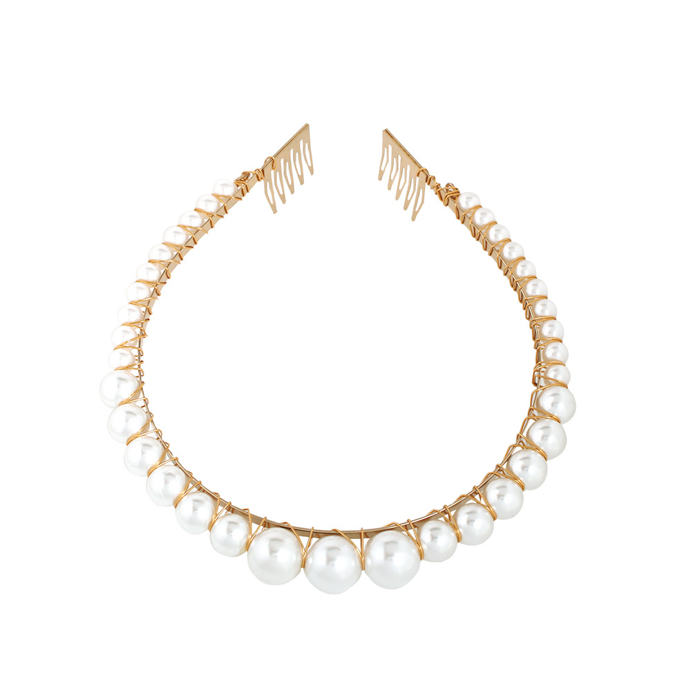 CN Hair Accessories 2019 Handmade Imitation Pearl Hairbands For Women Gold Color Ball Bride Wedding Hair Jewelry Hair Bands in Women 39 s Hair Accessories from Apparel Accessories