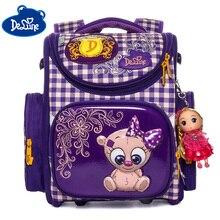 Delune 2019 New School Backpacks For Girls Boys 3D Children Orthopedic Backpack Student Bags Grade 1-3 Mochila Infantil