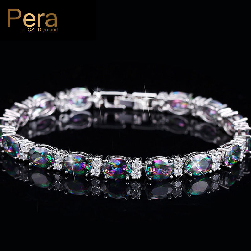 Pera CZ Trendiga mångfärgade smycken Stor oval regnbåge Mystic - Märkessmycken