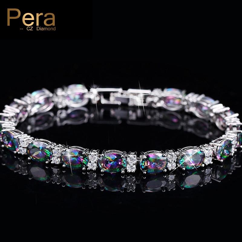 Pera CZ Trendy Çok Renkli Takı Büyük Oval Gökkuşağı Mystic - Kostüm mücevherat - Fotoğraf 1