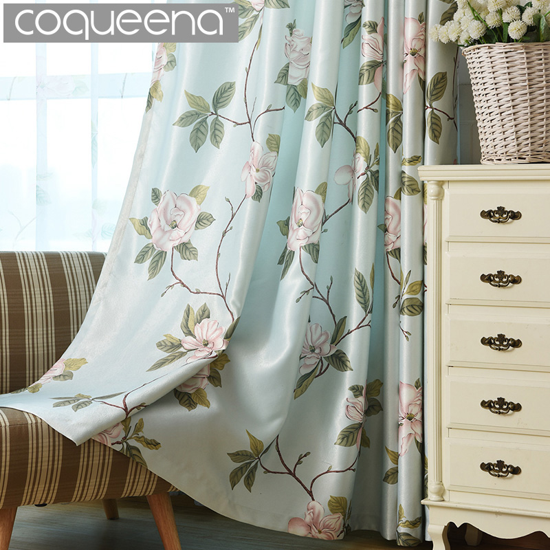 Floral Printed Blackout Window Door Curtains for Living Room Bedroom Kids Baby Room Kitchen Home Decorative Curtains Drapes
