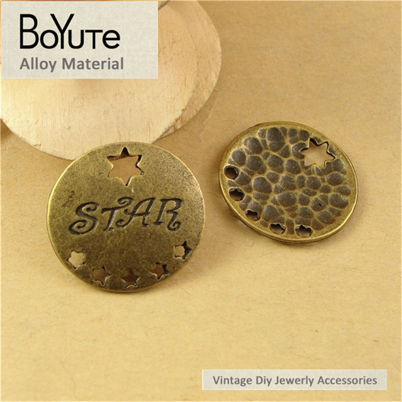 BoYuTe (40 Pieces /lot) 21MM Antique Bronze Plated Zinc Alloy Star Word Charms Pendant Jewelry Findings