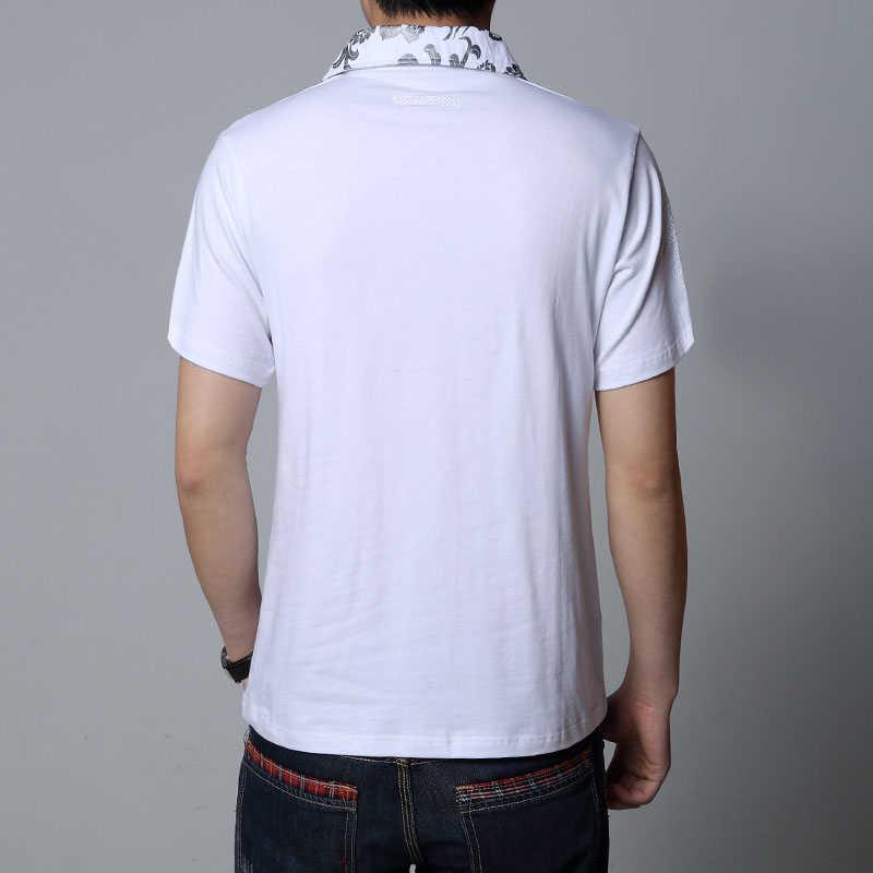 קיץ 2019 חם גברים T חולצה כסף הדרקון קעקוע צווארון קצר שרוול כותנה חולצה גברים של אדון מזדמן טי חולצה בתוספת 5XL