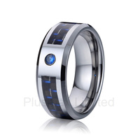 OEM ODM Durable Titanium Jewelry Blue Stone And Carbon Fiber Fashion Wedding Band Rings Love