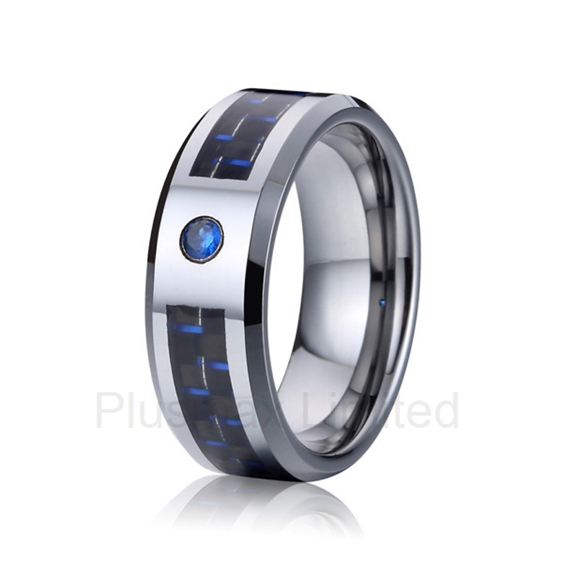 high quality OEM/ODM durable titanium jewelry blue stone and carbon fiber fashion wedding band rings love цена