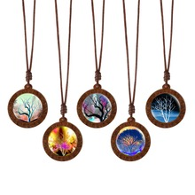 Fashion Life Tree Wood Glass Cabochon Statement Necklace & Pendant Jewelry Vintage Bronze Chain for Women