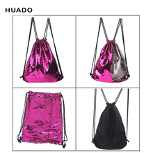 Drawstring Bags backpack Woman Lady Female bag Double Color Sequins Travel Drawstring Backpack