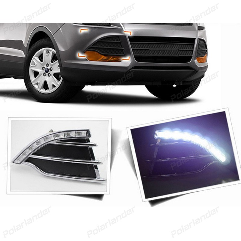 2 pcs car accessory Car styling for F/ord k/uga Or E/scape 2013-2015 daytime running lights boomboost 2 pcs car accessory daytime running lights for f ord k uga or e scape 2013 2015 car styling