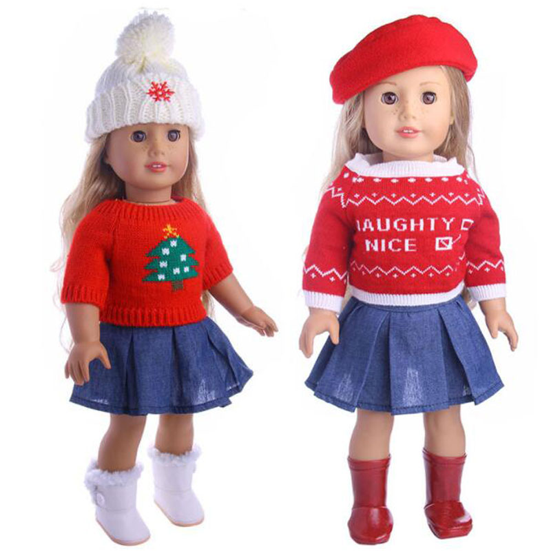 12 Styles 43cm Baby Doll Clothes Christmas Suits With Hat Fit 18 Inch Girl Doll For Children Best Gift