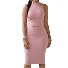 Women Sleeveless Dress Sheath Slim Pencil Knee Dress Hollow Out Ladies Solid Color Evening Party Bodycon Dress White Black Pink