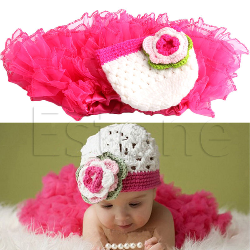 0-1 Year Old Baby Kids Crochet Beanies Hat and Skirt Outfits Photography Props
