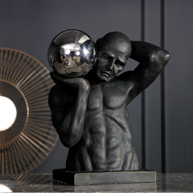 Modern Strong Athletic Man Holding Stainless Steel Ball Large Statue Home Decor Crafts Room Decor Objects Office Resin Figurines
