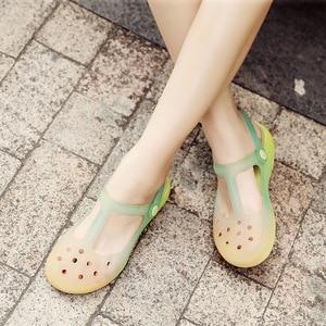 Image 4 - קיץ נשים פרדות כפכפים חוף לנשימה מרי Janes שיפוע צבע נעלי בית אישה של סנדלי ג לי נעלי חמוד נעלי גן