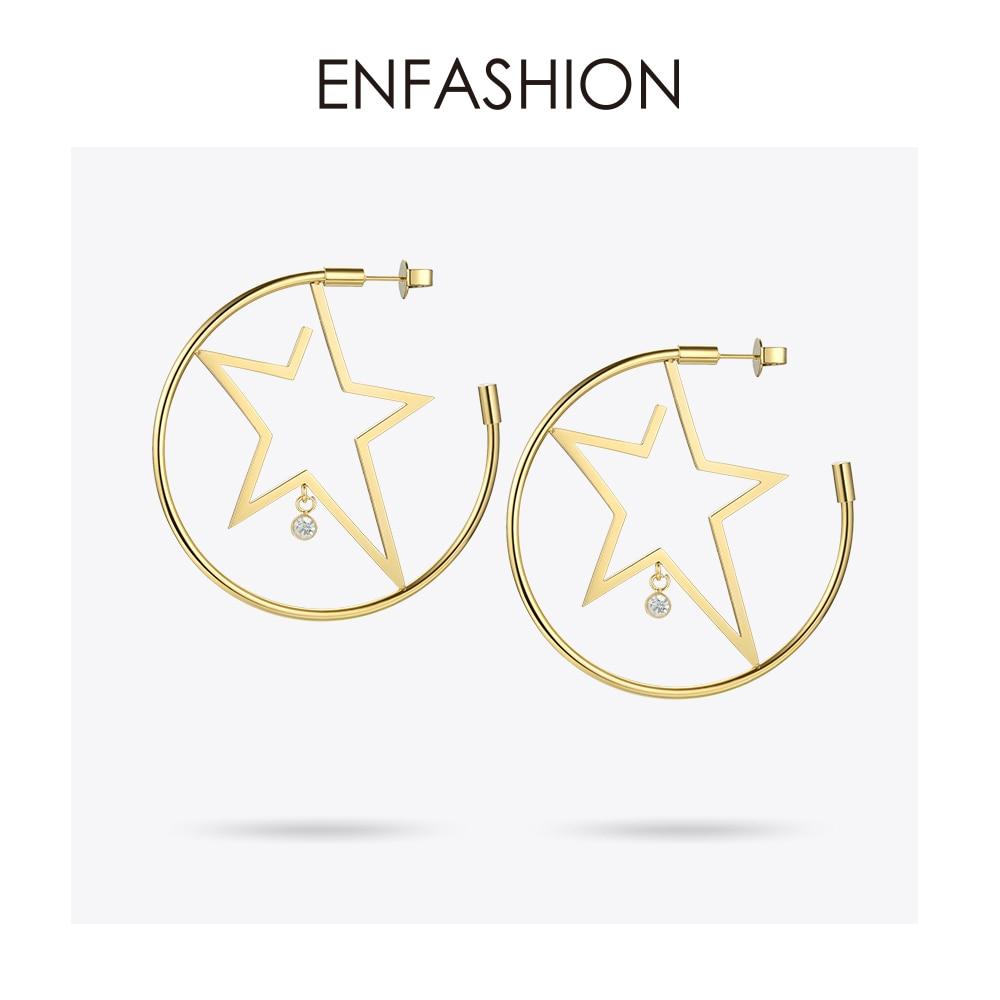 Image 2 - Enfashion スターフープイヤリングゴールド色出穂ステンレス鋼ビッグフープイヤリング女性のファッションジュエリー卸売 ED181079フープイヤリング   -