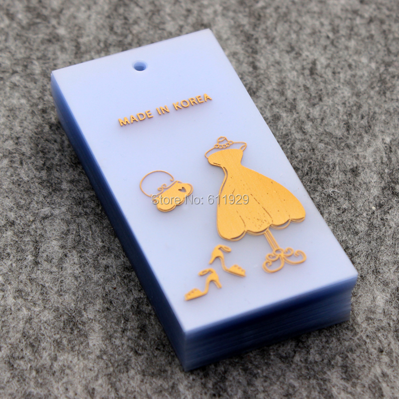 custom clothing PVC hang tag/garment plastic tags/golden stamped frosted swing tags 1000 pcs a lot