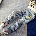 Bordado Jeans Para Niñas Ripped Jeans Para Niños Adolescentes Niña Denim Elástico de La Cintura pantalones 4 5 6 7 8 9 10 11 12 13 Años Pantalones