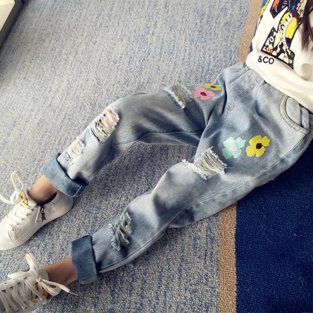 Bordados Ripped Jeans Para Meninas Crianças Calças De Brim Adolescentes Menina Cintura Elástica Denim calças 4 5 6 7 8 9 10 11 12 13 Anos Calças