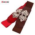 Korean High Quality Genuine Leather Elastic Waistband Wide Belt For Women Fashion Belt Cummerbunds Female Dress Decoration Metal