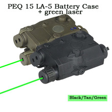 On sale Tactical  PEQ 15 LA-5 Battery Case +Green Laser Laser Sight Pointer Aimer For Hunting Shooting OS20-0025G