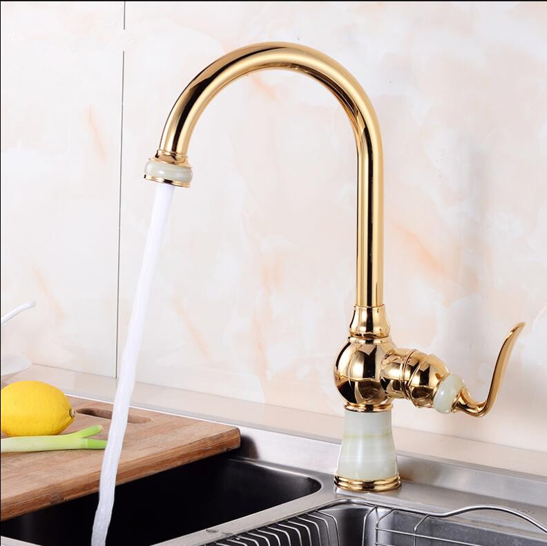 NEW Golden Brass and Jade Kitchen Faucet Swivel Basin Sink Mixer Tap Noble Gorgeous Kitchen Tap Mixer Single Handle Faucet golden brass kitchen faucet dual handles vessel sink mixer tap swivel spout w pure water tap