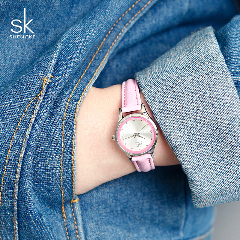 SK New Design Fashion Ladies Watches Elegant Rhinestone Female Quartz Watch Women Thin Leather Strap Waterproof Montre Femme 008