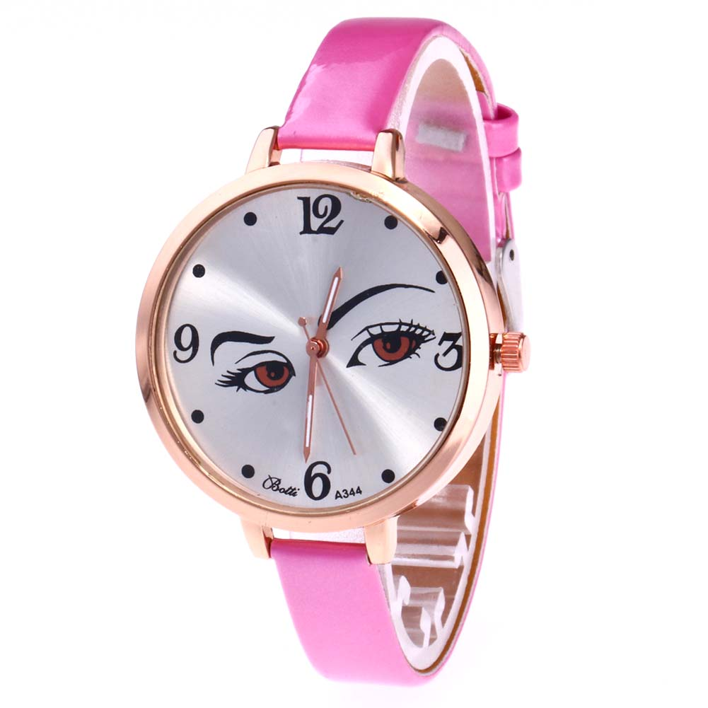 Fashion Women Watch Round Cute Eyes Face Dial Quartz Watch Casual Watches Analog Thin PU Leather Strap Wristwatch Gifts LL@17 retro small dial watch women simple desingn thin belt casual watches womens vogue pu leather analog quartz wrist watch reloj n