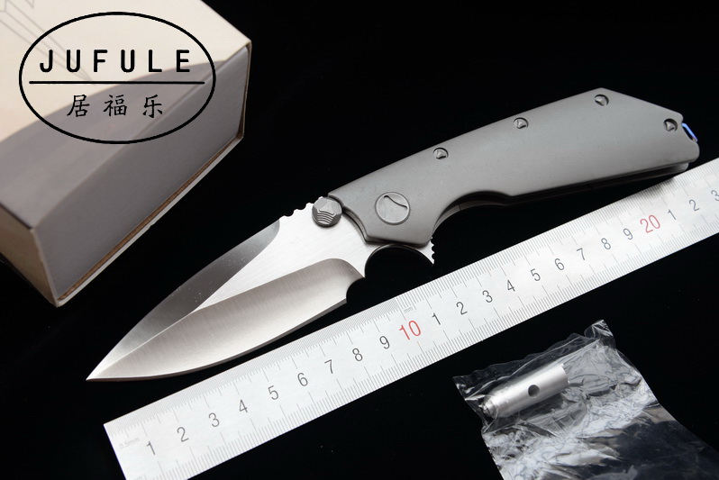 JUFULE DOC Folding D2 Blade Titanium / G10 bearing Flipper Tactical kitchen Knife Outdoor Survival Camping Pocket Hunt EDC Tool newest titanium folding knife tc4 handle d2 blade tactical survival pocket knife ball bearing flipper outdoor camping knife tool