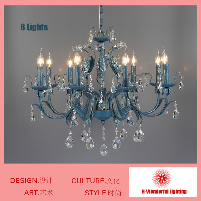 Blue Creative American Mediterranean Art Iron Chandelier Living Room Crystal Chandelier Lighting Lamps Hanging Retro Personality hot with show ink level chip for epson stylus pro 7700 9700 ink cartridge for epson wide format printer