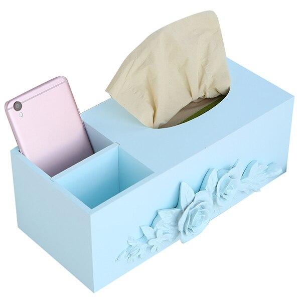 MIZHI 1 деревянный Творческий цветочным узором бумажное полотенце Ящик Журнальный Столик ящик для хранения телефона с Размер упаковки о: 27,7 *