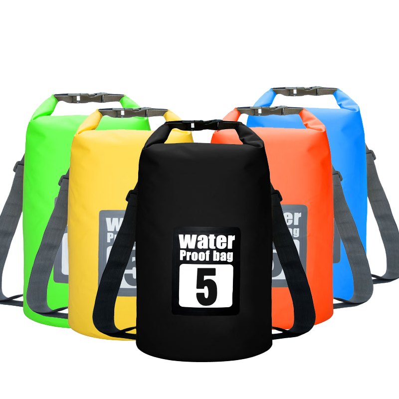5L Waterproof Water Resistant Dry Bag Sack Storage Pack Pouch Swimming Kayaking Canoeing River Trekking Fishing Double Straps