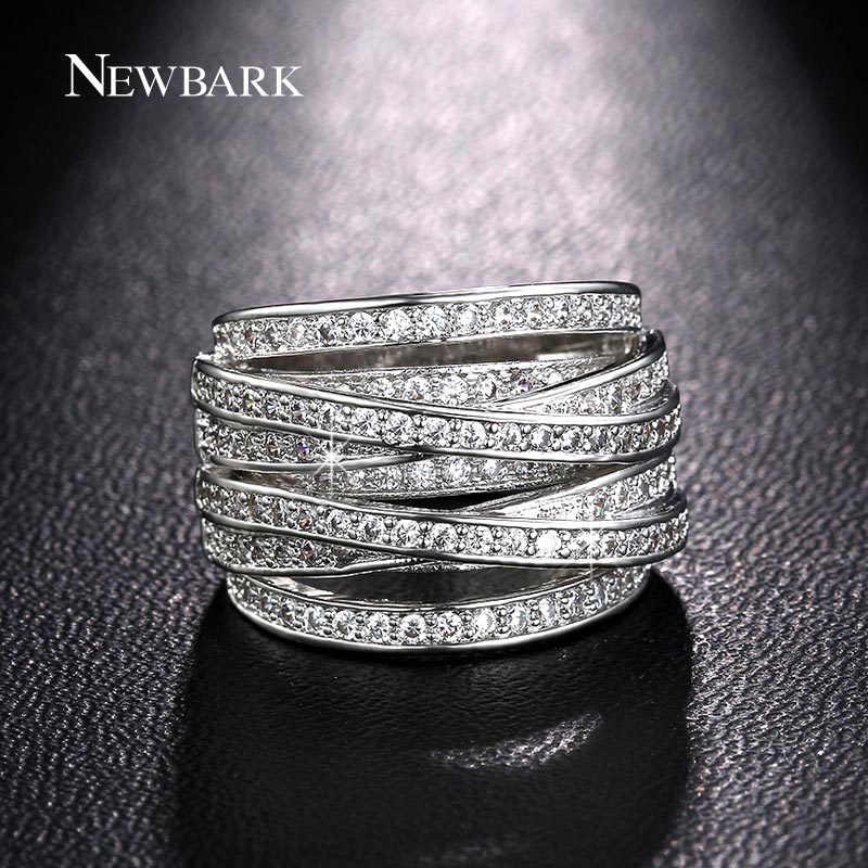 NEWBARK Top New Antique Mosaic AAA Zircon Crystal Multilayer Vintage Silver Color Cross Double X Ring