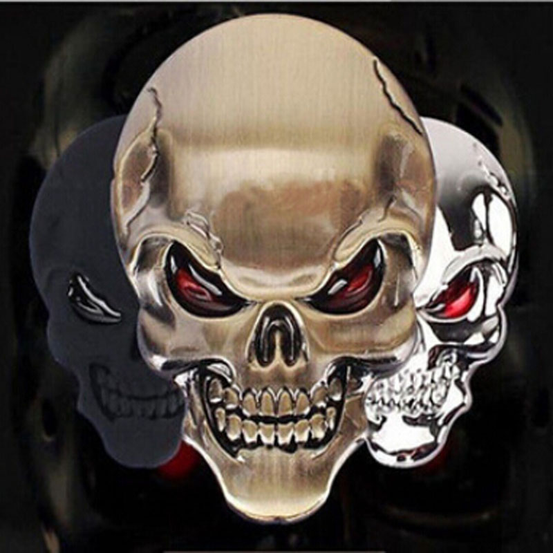 Brand New and High Quality 3D Metal Gold Black Skull Skeleton Car Motorcycle Decal Stickers Emblem Badge Стикер