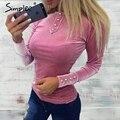 Simplee Бархат с длинным рукавом блузка рубашка Сексуальная о шея зеленый блузка женщины Кнопка тонкий сорочка прохладный женский блузка 2017 случайные blusas