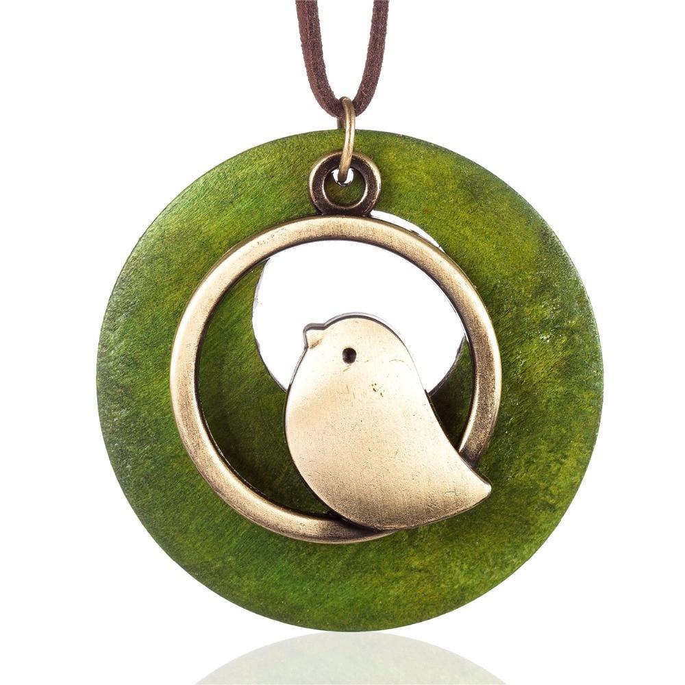 kvinna smycken uttalande halsband & berlocker, fågel trä pärla - Märkessmycken - Foto 4